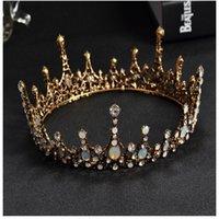 yeni gelin tacı toptan satış-Yeni Noble Gelin Düğün Taç Headdress Klasik Barok Kristal Rhinestone Kafa Retro Shining Yuvarlak Gelin Taç