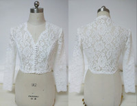 Wholesale sexy wedding dress bolero resale online - 2020 Sexy V neck Wedding Bridal Jackets Bolero with Button Lace Long Sleeves Wedding Wrap For Wedding Dress Gowns Plus size