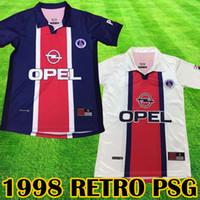 ingrosso kit da tè-1998 psg white RETRO Pullover da calcio Paris Navy maglie da calcio 1998 kit calcio Calcio magliette da baseball tee Retro 1998 1999 camicie retrò