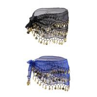madeni paralar dans eşarpları toptan satış-2 adet Lady Kadınlar Oryantal Dans Kalça Eşarp Aksesuarları Ile 3 satır Kemer Etek Altın Oryantal Dans Sesi Paraları Bel Zinciri Wrap Yetişkin giymek
