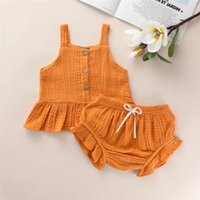 korean summer outfit wholesale 2021 - Korean Style INS Summer Little Girls Clothing Set Suits Sleeveless Front Wooden Buttons Shorts 2Pieces Children Bountique Kids Outfits