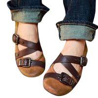 Wholesale big bottom sandals for sale - Group buy Womens Vintage Flat Bottom Shoe Mary Janes Sandal Belt Buckle round toe summer fashion new flat shoes big size