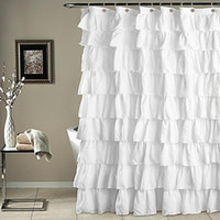Wholesale waterproof curtains for sale - Group buy LumiParty Plain Colour Waterproof Corrugated Edge Shower Curtain Ruffled Bathroom Curtain Decoration C18112201