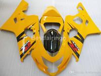 Wholesale yellow k5 fairing resale online - Motorcycle ABS fairing kit for SUZUKI GSXR600 GSXR750 yellow black GSXR K4 K5 fairings FF15