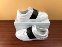 frauen öffnen flache schuhe großhandel-Mode Männer Frauen Designer Schuhe weiß Schnüren Echtes Leder offen Luxus Freizeitschuhe Flache Sport Designer Sneaker mit Box zu verkaufen