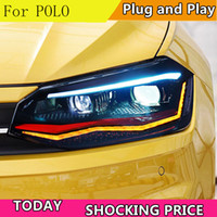 Wholesale vw new polo for sale - Group buy Car Styling for VW Polo Headlights New Polo LED Headlight DRL Head Lamp Low Beam High Beam ALL LED Accessories