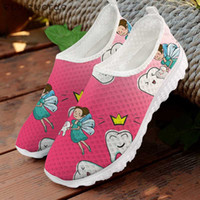 Wholesale 3d cartoon shoes resale online - ELVISWORDS Fashion Women Pink Flats Cute Cartoon Dentist Fairy Print D Breathable Mesh Shoes Casual Summer Sneakers for Female