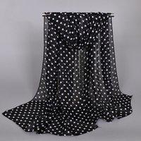 foulards blancs points noirs achat en gros de-design classique mini-impression spot dot femmes polyester mousseline de soie foulard de soie tache blanche noir enveloppe taille 50x160cm