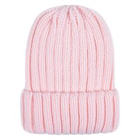 короткие манжеты оптовых-Women Winter Chunky Ribbed Knitted Hat Unisex Thicken Vertical Striped Solid Cuffed Adult Beanie Cap Slouchy Cuffed Ear Cover