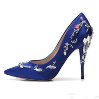 şampanya balo topuklu toptan satış-Ralph Russo Pembe Düğün Gelin Ayakkabı Şampanya Rahat Tasarımcı Pageant Akşam Parti Balo için Ipek Eden Topuklu Saten Ayakkabı Ayakkabı