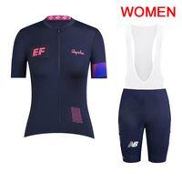 ekip bisiklet mayo bib şort seti toptan satış-2019 Pro Team EF Eğitim İlk kadınlar bisiklet jersey bib şort set yaz Dağ Bisikleti Giyim Nefes Açık Spor Takım Elbise Y030102