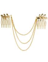 Wholesale head chain leaf resale online - 10Pcs Women Punk Chic Leaf Hair Comb Decoration Head Band Chains Clip Tassels Fringes P