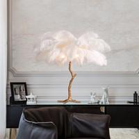 lampe de table moderne en résine achat en gros de-Chambre à coucher moderne de lampe de table de plume de LED à côté de la lumière de bureau lampe de résine de cuivre nouvelle B201