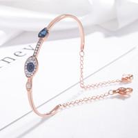 joyas de mal de ojo al por mayor-Pulsera de cristal natural del mal de ojo Moda europea y americana elegante ojo azul 925 brazalete de plata esterlina pulsera de lujo para mujer regalo
