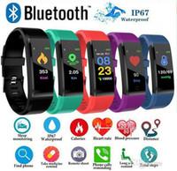 pantalla xiaomi al por mayor-ID 115 Plus Smart Fitness Bracelet Tracker 115 plus Pantalla colorida Monitor de ritmo cardíaco de presión arterial Reloj de mujer para iphone xiaomi