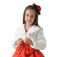 Cute long sleeves ivory flower girl faux fur cloaks cape winter warm jacket wrap kid bolero for wedding princess outwear coat