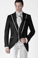 costume noir revers en satin achat en gros de-Mode smoking smokings satin noir garçons d'honneur robe de mariage pour homme bel homme veste blazer costume 3 pièce Peak Lapel (veste + pantalon + veste + cravate) 920