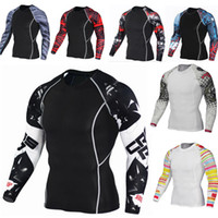 Wholesale t shirt fitness clothing compression for sale - Group buy Trends T shirt Wolf D Printed Compression Men Fitness Workout Running Shirt Breathable Long Sleeve Sport Rashgard New Gym Cycling Clothing