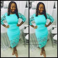 tekne boyun kokteyl elbiseleri toptan satış-Ucuz Zarif turkuaz Nijeryalı dantel Çay Boyu Kokteyl Elbiseleri ile 3/4 uzun kollu Kılıf tekne boyun örgün Parti Abiye giyim