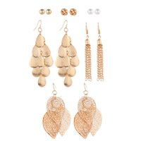 ingrosso set perle d'acqua-Fashion Multi-Ornament 6 paia Faux Pearl Ritagli Foglie Water Drops Fringe Set di orecchini assortiti di personalità da donna