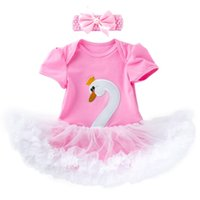 Wholesale white one piece romper for sale – dress 0 years newborn baby cute swan romper tutus with headband babies swan one piece jumpersuit with ruffle skirts lovely outfit