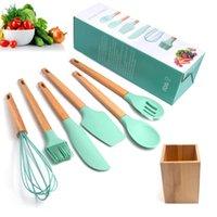 Wholesale wooden shovels resale online - Non Stick Cookware Cooking Spoon Shovel Kitchen Spatula Cooking Shovel Spoon Tool with Wooden Seat Seven Pieces