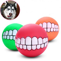 Wholesale yellow train cartoon online – design Large dog gold hair sound bite pet toy ball rubber tooth ball funny pet ball teeth pattern suitable for dog bites training playing
