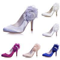 zapatos de boda de plata perlas al por mayor-5623-11 Plata Púrpura Azul Champagne Tacones altos Mujeres Pump Prom Party Baile de la boda Zapatos nupciales de la perla en punta 9cm Stiletto Heel