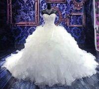 ingrosso increspature di ricamo-2019 di lusso in rilievo da sposa abiti da sposa Sweetheart corsetto Organza Ruffles Cattedrale Ball Gown Principessa Abiti da sposa economici