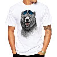 urso rindo venda por atacado-2.018 mais barato Homens Urso T-shirt Rindo Moda Impresso Retro Urso manga curta Men The Happiest camisetas Casual engraçado Tops
