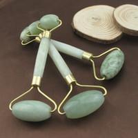 yüz için masaj aletleri toptan satış-Doğal Yüz Güzellik Masaj Aracı Jade Rulo Yüz Şekillendirici Masaj Gevşeme Araçları Yüz Masajı Jade Rulo RRA848