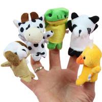 conjunto de fantoches de dedo de bebê venda por atacado-Animal dos desenhos animados fantoche de dedo do bebê brinquedos de pelúcia para crianças fantoche de dedo animal do bebê crianças brinquedos de pelúcia 10 pçs / set