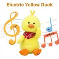 jogador bonito venda por atacado-Leitor de Música inteligente Elétrico Macio Recheado Bonecas Bonito Pequeno Pato Amarelo Plush Crianças Quebra-cabeças Educação Engraçado Brinquedos Caçoa o Presente