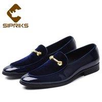 lüks düğün smokinleri toptan satış-Sipriks Lüks Erkek Düğün Mavi Smokin Ayakkabı Patent Deri Siyah Moda Elbise Ayakkabı Erkekler Üzerinde Kayma Patron Asansör BrandOur fabrika