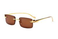 Wholesale new sunglasses for boys for sale - Group buy New Arrival Rimless Sunglasses For Women Vintage Oversize Sun glasses Metal Retro Bent legs Marine lens Mens Designer Sunglasses