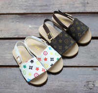 bebek terlik ayakkabıları toptan satış-21019 yeni çocuk ayakkabıları yaz ve sonbahar bebek plaj çocuk sandalet ve terlik Kore moda basit çocuk prenses ayakkabı