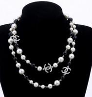luxus parfums großhandel-2019 luxus stil 2 schichten halskette perlen pullover halsketten designer frei dame Parfüm nummer 5 frauen neckless lange halskette collares