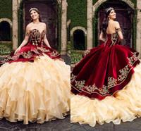 seksi sevgilim topun elbise dantel toptan satış-Sevgiliye Bordo kadife Balo Quinceanera Modelleri Ile Nakış Katmanlı Etekler Lace Up Kat Uzunluk Vestido De Festa Tatlı 16 Elbise