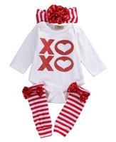mädchen größe kinder kleidung großhandel-Neu 3pcs Kinder Baby Langarm-Baumwollspielanzug + Bein-Wärmer + Stirnband-Haar-Band-Kleidung Outfit Set Größe 0-18M