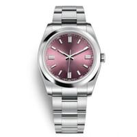 relógios automático novo 36mm venda por atacado-Novas mulheres dos homens relógios de pulso 36mm safira automática uva vermelha rosa mostrador de ouro aço completo luminosa homens mulheres se vestem relógios presidente desinger