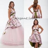 Wholesale custom camo t shirts for sale – custom Vintage Pink Camo Bohemian Wedding Dresses with Detachable Train Halter Backless Short Beach Western Country Bridal Dress
