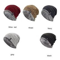 Wholesale wholesale fashion army hats online - Warm Inner Crochet Cap Colors Winter Warm Thicker Cycling Caps Men Windproof Skiing Outdoor Hats Beanies OOA6179