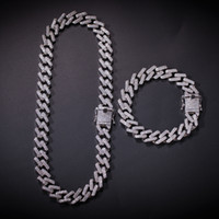 Wholesale silver chains men for sale - Group buy Hip hop Necklace Strip Miami Cuban Chain Zircon studded Hip Hop Necklace for Men European and American Accessories Hot