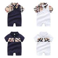 mameluco del plaid de los bebés al por mayor-Baby Boy Jumpsuit Baby Plaid Baby Plaid Rayper Romper Kids Designer Boy Autumn Cotton Stitching Ropa casual 3-24M 06