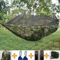 ingrosso amache camuffamento-Tende in tessuto per paracadute Altalena ultraleggera per campeggio all'aperto 1-2 persone Amaca portatile per esterno da campeggio Altalene da giardino