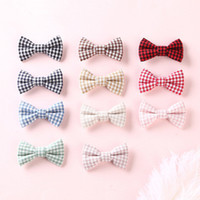 Wholesale hair bows resale online - Children s hair accessories diy cloth hairpin small square bow girl hairpin word clip baby boutique hair accessories children hairpin EEA356