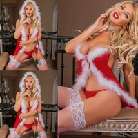 babydoll rojo xxl al por mayor-Ropa interior de Navidad Mujeres Lencería sexy Red Babydoll Dress ropa de dormir traje nuevo # R76