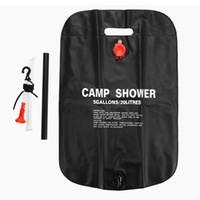 açık pvc güneş şovları toptan satış-Açık Kamp Yürüyüş Güneş Enerjisi Isıtmalı Kampı Duş Çanta PVC Su Torbası 20L / 5 Galon