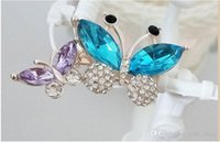 Wholesale butterfly crystal brooch for sale - Group buy Rhinestone Butterfly Brooches pin High Quality Blue Crystal Animal Clothing Accessoriess Gift for Women Fashion Jewelry