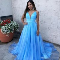 451ea536a2c Wholesale 2 piece prom dresses for sale - Sky Blue Prom Dresses Ruffles V  Neck Fashion